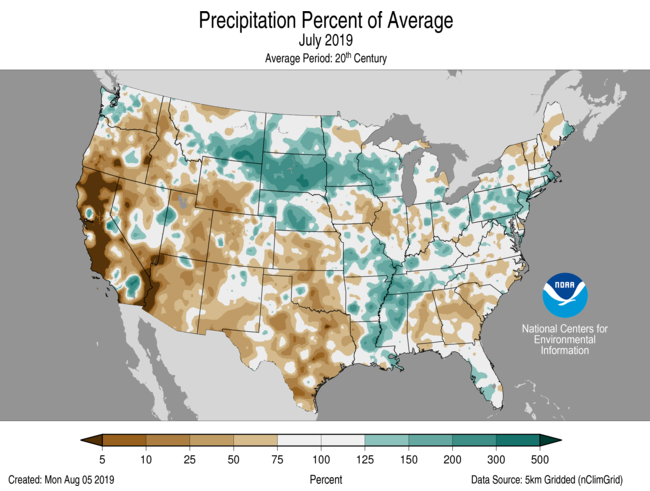 July Percent of Average Precip