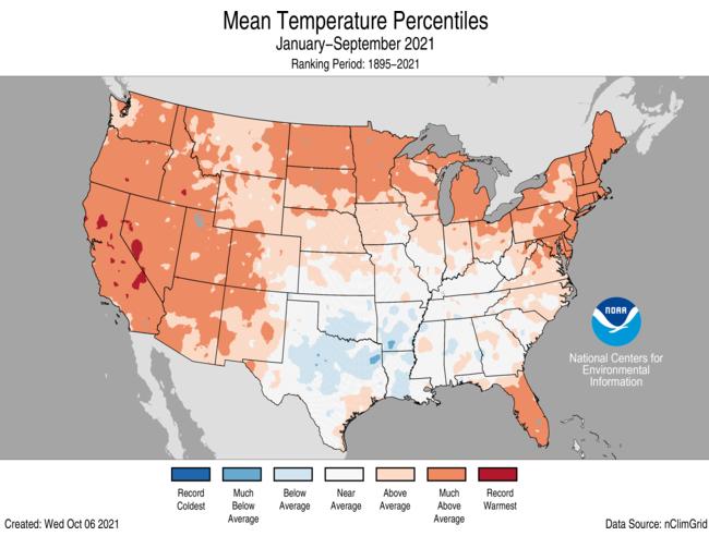 January-September Gridded Temperature Percentiles Map