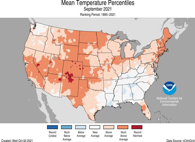 September Gridded Temperature Percentiles Map