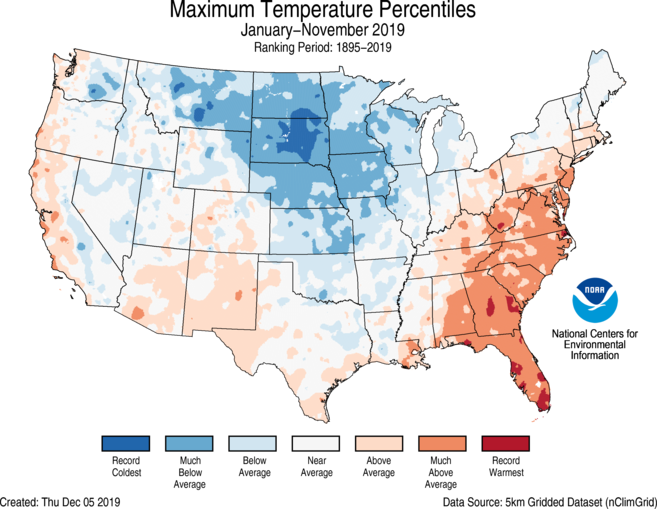 Year-to-Date CONUS Gridded Maximum Temperature Ranks