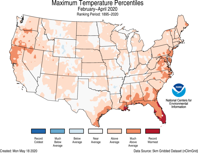 3-Month CONUS Gridded Maximum Temperature Ranks