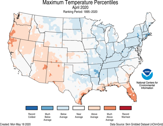 1-Month CONUS Gridded Maximum Temperature Ranks