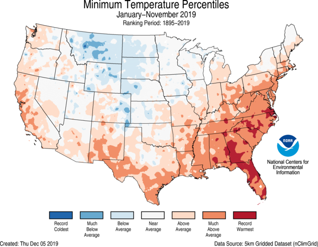 Year-to-Date CONUS Gridded Minimum Temperature Ranks