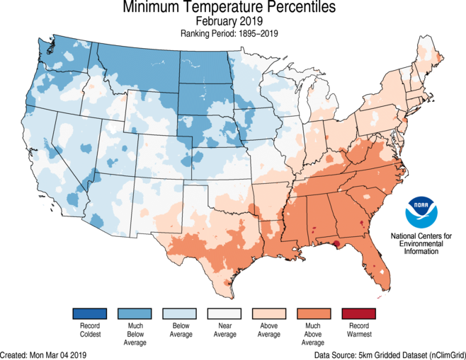 National Climate Report February 2019 State Of The Climate National Centers For Environmental Information Ncei