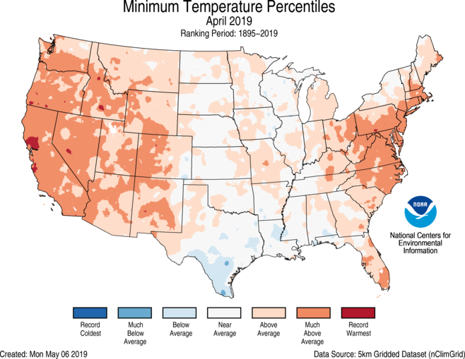 National Climate Report April 2019 State Of The Climate - Us-map-of-temperatures