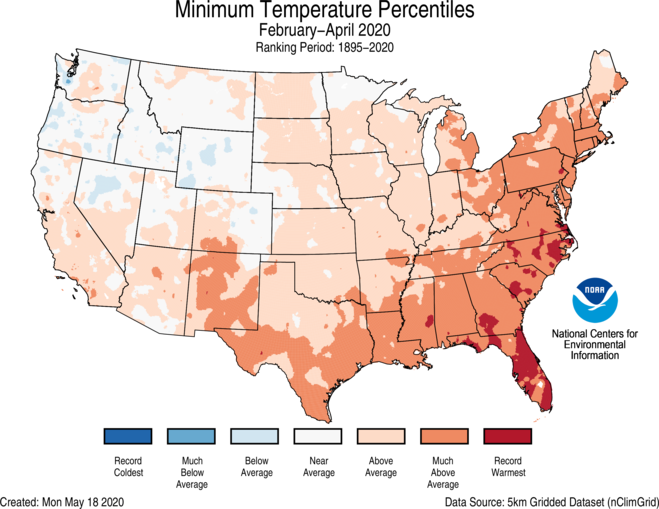 3-Month CONUS Gridded Minimum Temperature Ranks