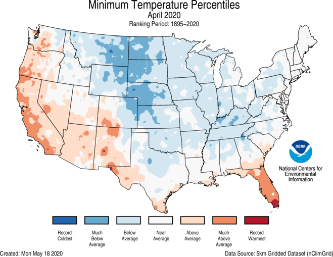 1-Month CONUS Gridded Minimum Temperature Ranks