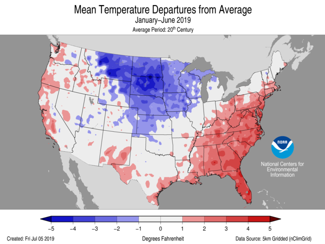 Average Temperature Departures (January-June)