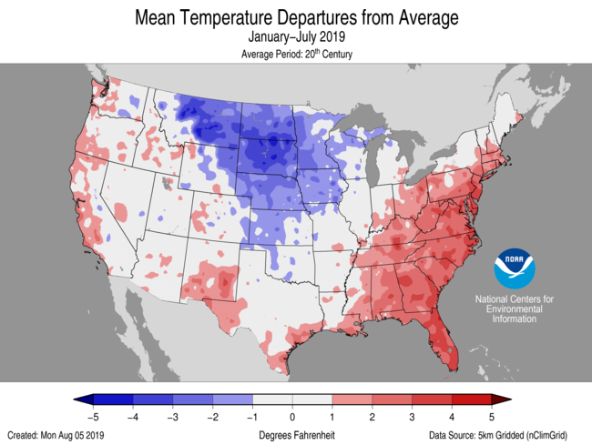 Average Temperature Departures (January-July)