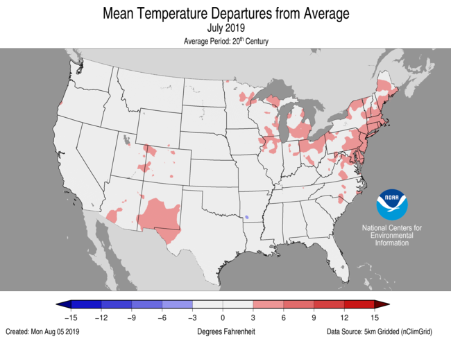 Average Temperature Departures (July)
