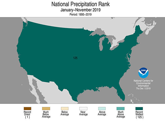 Year-to-Date CONUS Precipitation Rank