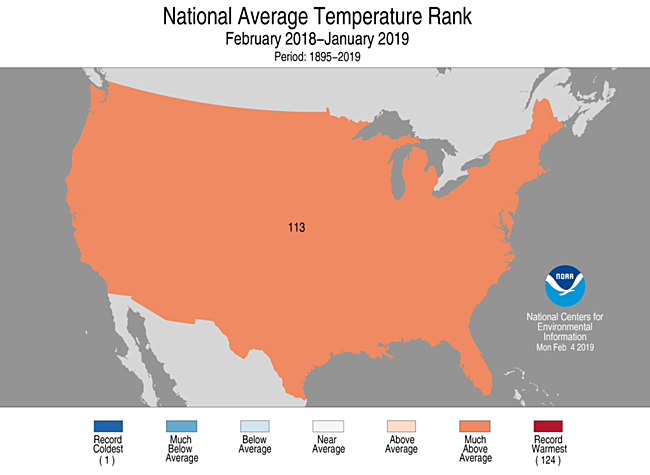 12-Month CONUS Average Temperature Rank