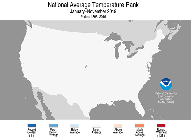 Year-to-Date CONUS Average Temperature Rank