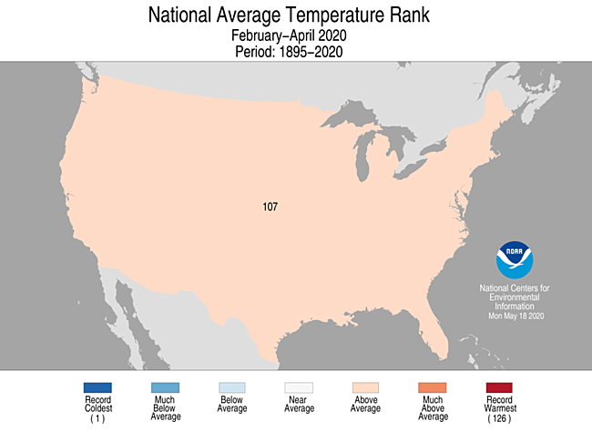 3-Month CONUS Average Temperature Rank