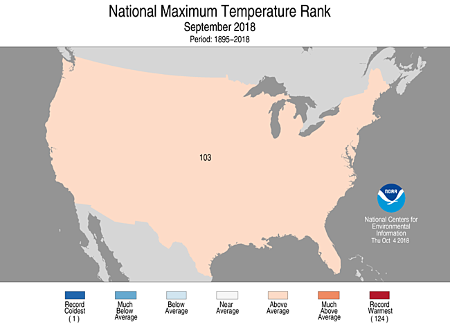 1-Month CONUS Maximum Temperature Rank