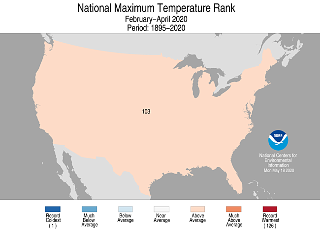 3-Month CONUS Maximum Temperature Rank