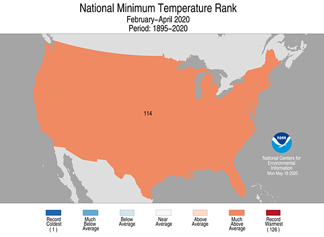 3-Month CONUS Minimum Temperature Rank