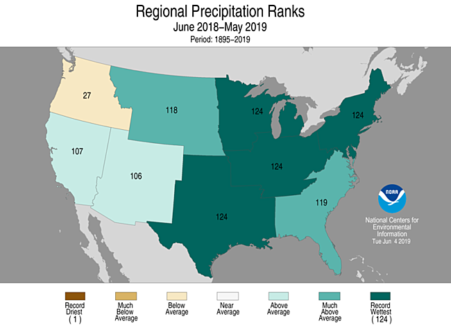 12-Month Regional Precipitation Ranks