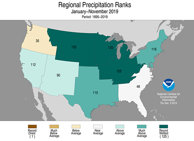 Year-to-Date Regional Precipitation Ranks