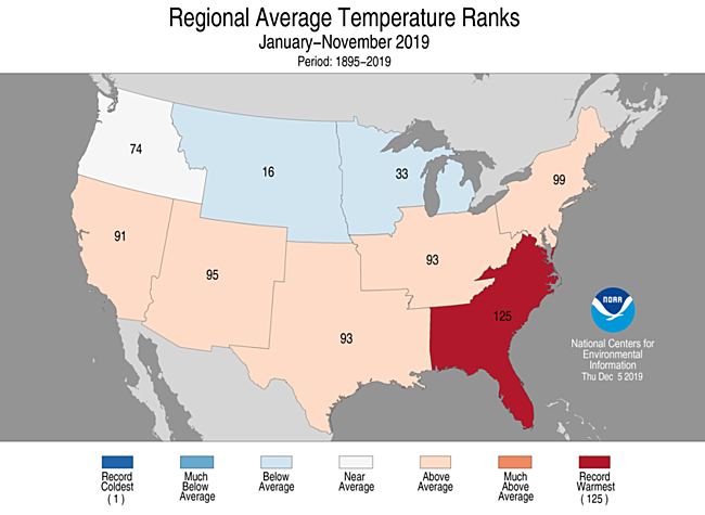 Year-to-Date Regional Average Temperature Ranks