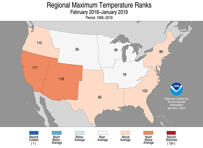 12-Month Regional Maximum Temperature Ranks