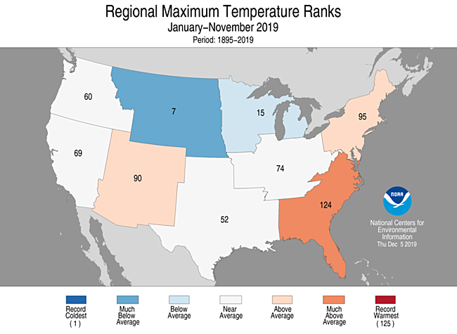 Year-to-Date Regional Maximum Temperature Ranks
