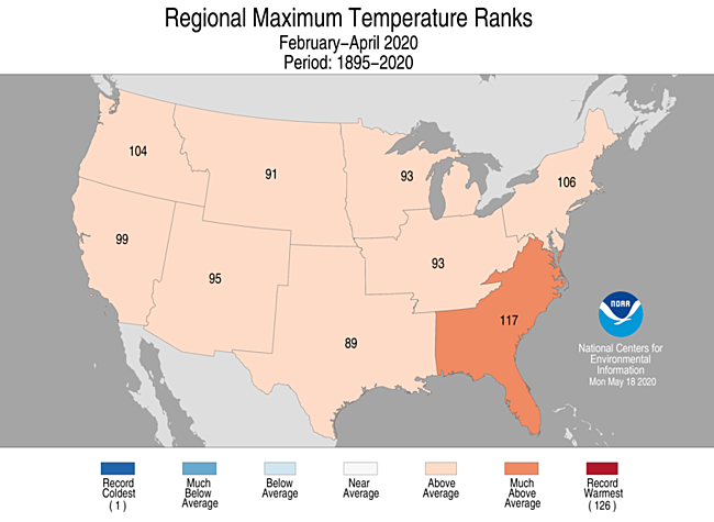 3-Month Regional Maximum Temperature Ranks