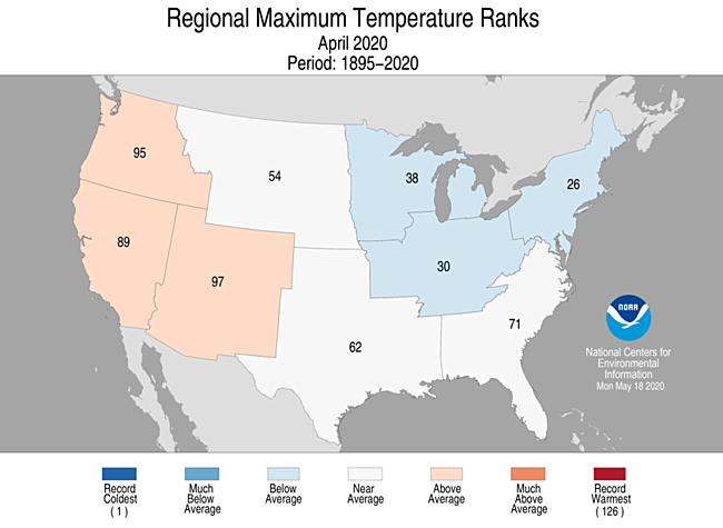 1-Month Regional Maximum Temperature Ranks