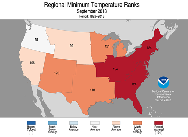 1-Month Regional Minimum Temperature Ranks