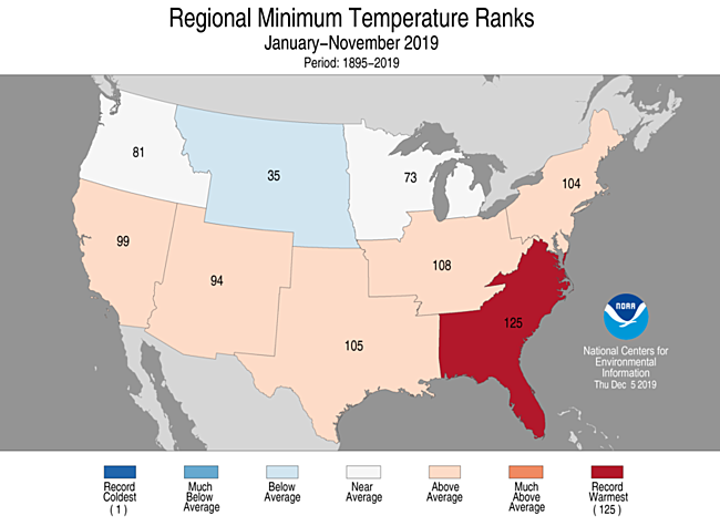 Year-to-Date Regional Minimum Temperature Ranks