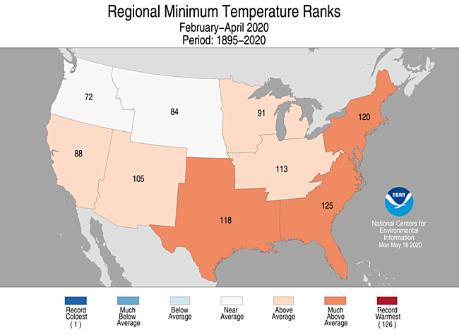 3-Month Regional Minimum Temperature Ranks