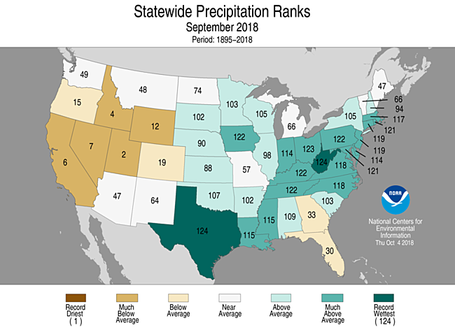 1-Month Statewide Precipitation Ranks