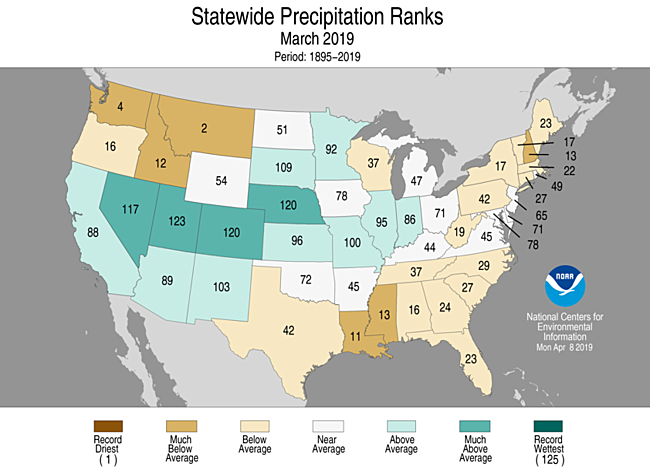 March 2019 Statewide Precipitation Ranks Map
