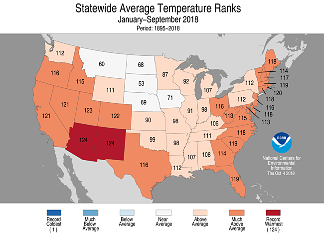 Jan-September 2018 Statewide Temperature Ranks Map