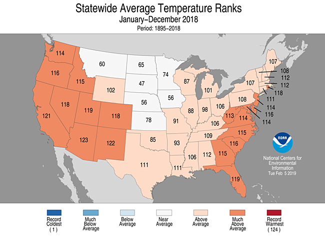 2018 National Temperature Rank Map