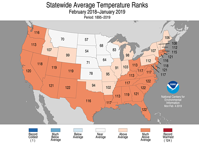 12-Month Statewide Average Temperature Ranks