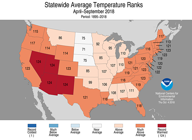 Spring 2018 Statewide Temperature Ranks Map