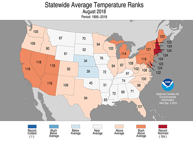 National Climate Report August 2018 State Of The Climate National Centers For Environmental Information Ncei