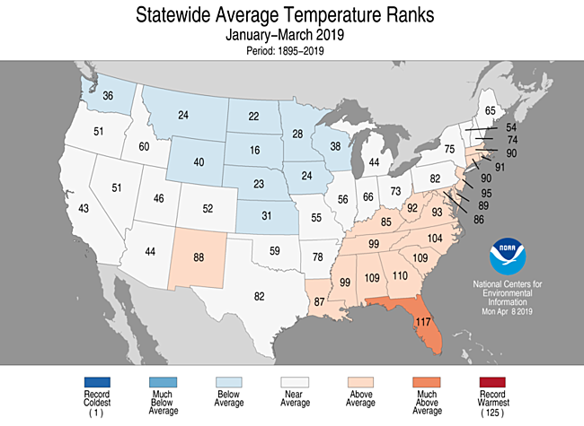 January-March 2019 Statewide Temperature Ranks Map