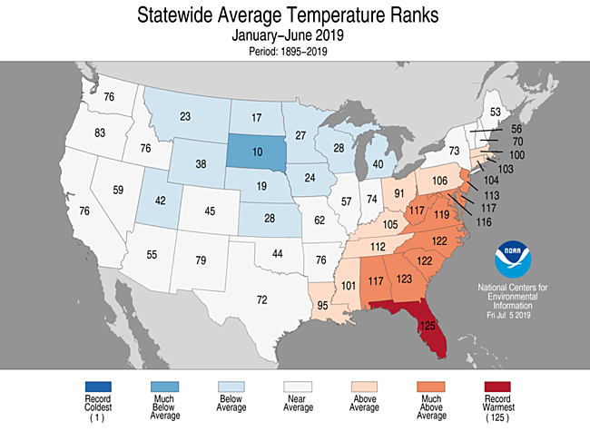 January-June 2019 Statewide Temperature Ranks Map