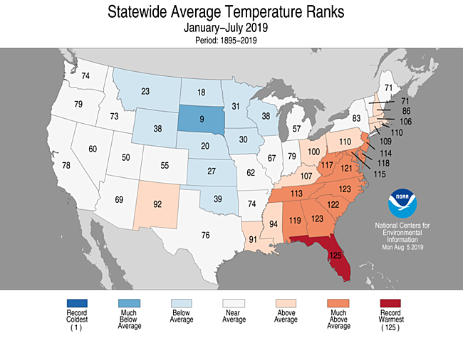 January-July 2019 Statewide Temperature Ranks Map