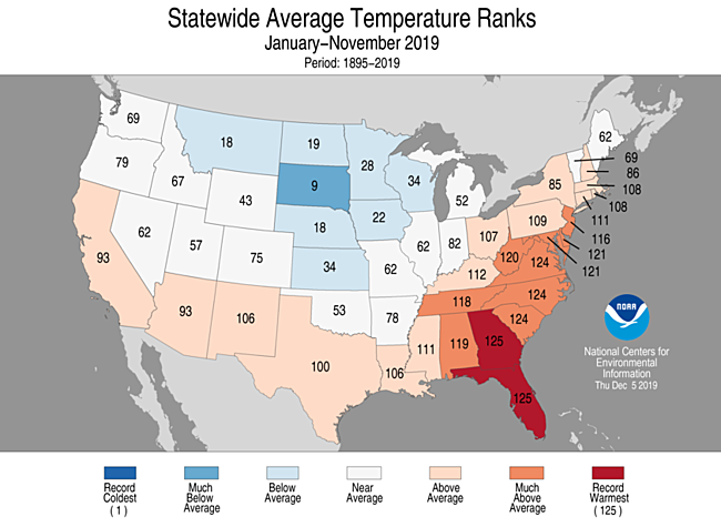 Year-to-Date Statewide Average Temperature Ranks