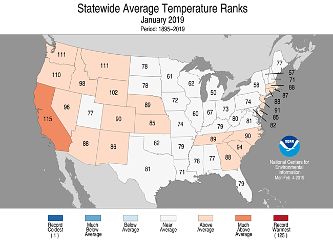Sep-Nov 2019 Statewide Temperature Ranks Map
