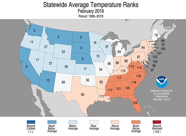 National Climate Report - February 2019 | State of the Climate ...