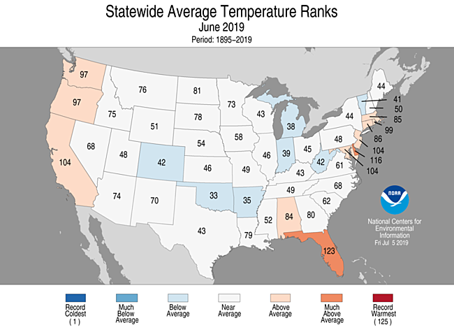 June 2019 Statewide Temperature Ranks Map