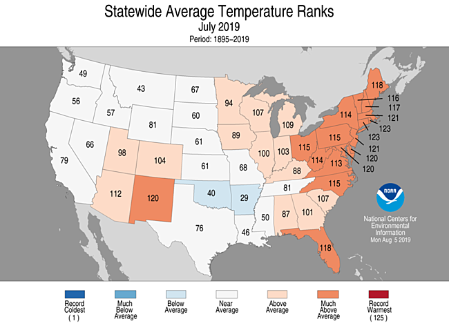 July 2019 Statewide Temperature Ranks Map