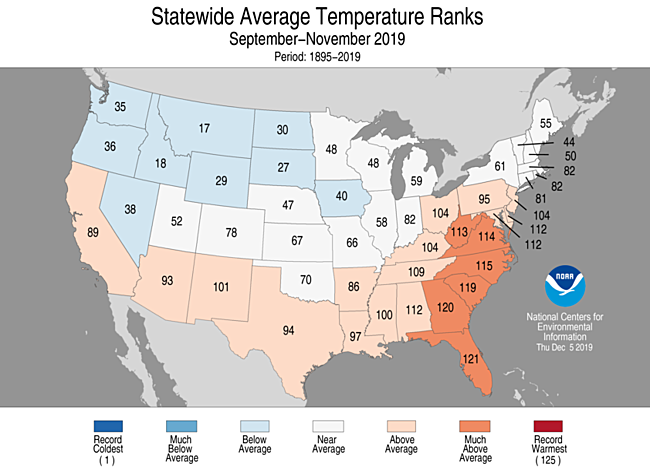 September-November 2019 Statewide Temperature Ranks Map