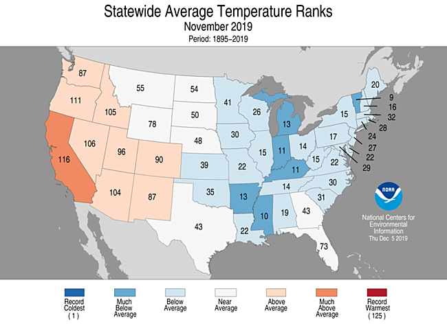 November 2019 Statewide Temperature Ranks Map