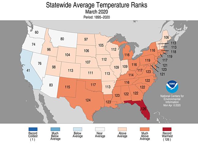 1-Month Statewide Average Temperature Ranks