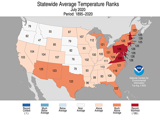 1-Month Statewide Average Temperature Ranks
